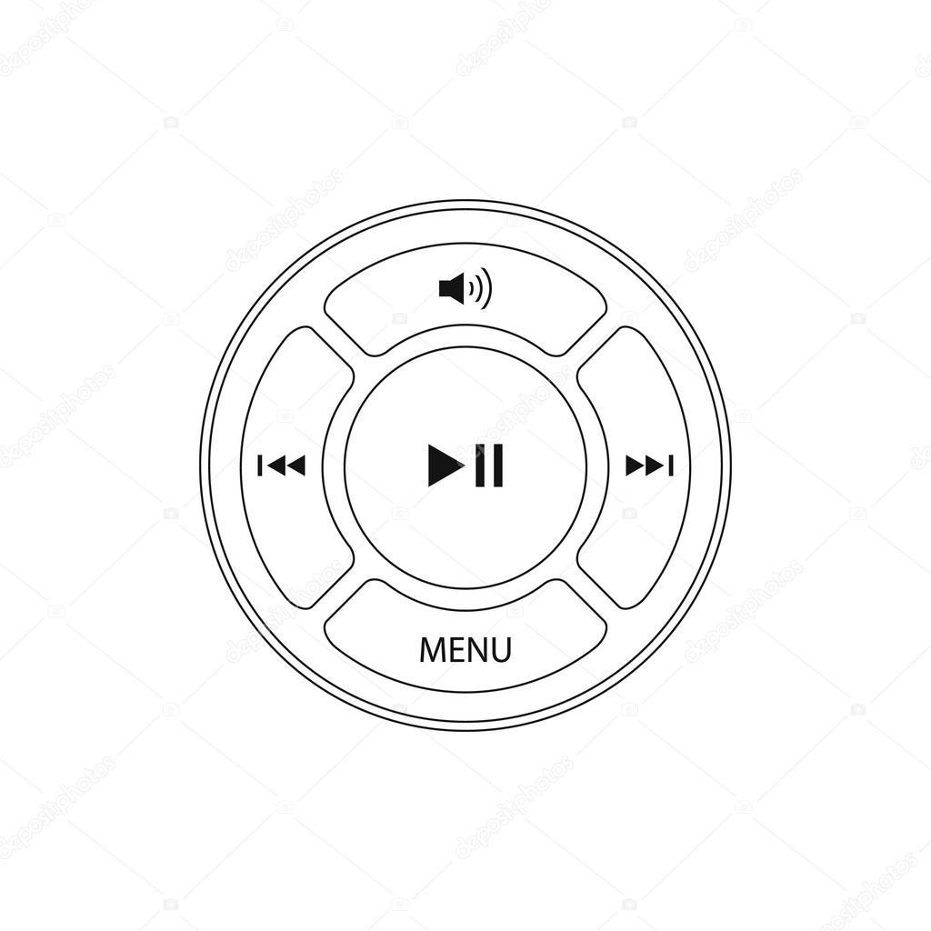 矢量界面设计元素的音乐播放器图标– 图库插图