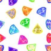无缝图案背景矢量的宝石和钻石图标设置颜色 — 图库矢量图片