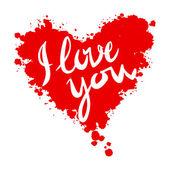 Eu amo você coração fundo vermelho pintado com vetor de aquarelas — Vetor de Stock