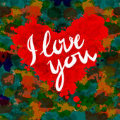 Corazón, te amo, fondo pintura colorida presentación ilustración vectorial — Vector de stock