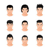 Set different hair style young men portraits isolated vector illustrations — Stock Vector