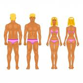 Vector young woman and guy in underwear. Body templates — Stock Vector