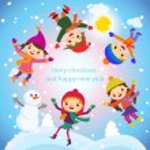 Cartoon concept winter background. Cute snowman in vector kids — Stock Vector #55779511