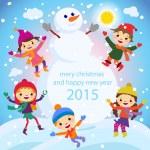 Cartoon concept winter background. Cute snowman in vector kids — Stock Vector #55779545
