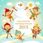 The family of snowmen dresses up a fur-tree vector retro 2015 — Stock Vector #55779567