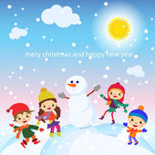 Cartoon concept winter background. Cute snowman in vector kids — Vector de stock