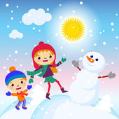 Kids making a snowman on a sunny day vector illustration — Stock Vector