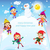 Cartoon concept winter background. Cute snowman in vector kids — Vettoriale Stock