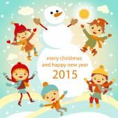 The family of snowmen dresses up a fur-tree vector retro 2015 — Stock Vector