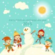 Happy kids playing with snow retro christmas card. Vector illustration. — Stock Vector #55981119