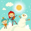Happy kids playing with snow retro christmas card. Vector illustration. — Stock Vector #55981121