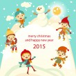 Happy kids playing with snow retro christmas card. Vector illustration. — Stock Vector #55981125
