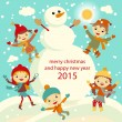 Happy kids playing with snow retro christmas card. Vector illustration. — Stock Vector #55981135