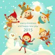 Happy kids playing with snow retro christmas card. Vector illustration. — Stock Vector #55981139