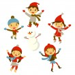 Winter Little girl snowman, Christmas boy snow  children vector set — Stock Vector #55981427