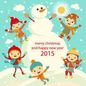 Happy kids playing with snow retro christmas card. Vector illustration. — Stock Vector