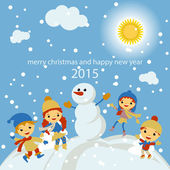 Merry Christmas Greeting card with winter landscape, snowfall and hanging, vector illustration — Stock Vector