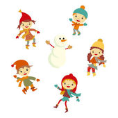Winter Little girl snowman, Christmas boy snow  children vector set — Stock Vector