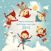 Set of characters funny kids  winter snow vector 2015 — Stock vektor