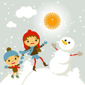 Set of characters funny kids  winter snow vector 2015 — Stock Vector