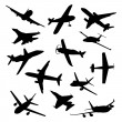 Big collection of different airplane silhouettes. vector — Stock Vector #56521533