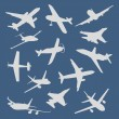 Big collection of different airplane silhouettes. vector — Stock Vector #56521545