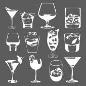 Cocktails set. Vector glasses collection. drinking whiskey party menu — Stock Vector