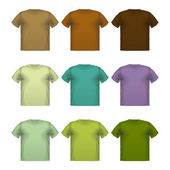 Set of colorful male t-shirts Vector wear printing isolated   — Stock Vector