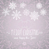 Winter Merry christmas card with snowflakes, vector illustration — Vettoriale Stock