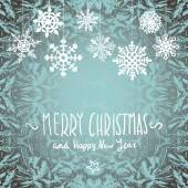 Winter Merry christmas card with snowflakes, vector illustration — ストックベクタ