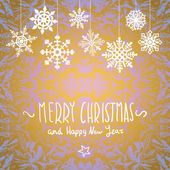 Winter Merry christmas card with snowflakes, vector illustration — Stockvector