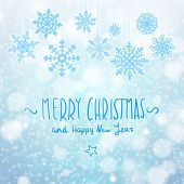 Winter Merry christmas card with snowflakes, vector illustration — 图库矢量图片