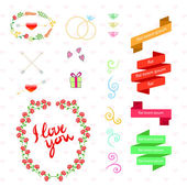 Vector wedding set with birds, hearts, arrows, ribbons, wreaths, flowers — Stockvector