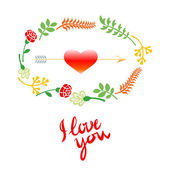 Vector wedding set with birds, hearts, arrows, ribbons, wreaths, flowers — 图库矢量图片