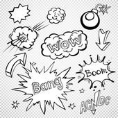 BLANK Comic speech bubbles set, comic wording sound set  — Stock Vector