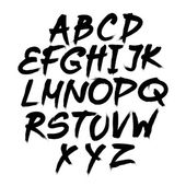 Vector alphabet. Hand drawn letters. written with a brush. — Stock Vector