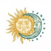 Sun, month stars Vector vintage style folklore retro — Stock Vector