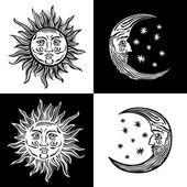 Illustration sun moon star human faces retro vintage vector folklore — Stock Vector