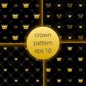 クラウン ベクトル コレクション ゴールド大アイコンを設定 — ストックベクタ