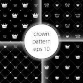 王冠のベクター アイコン設定のシームレスなパターン アート — ストックベクタ