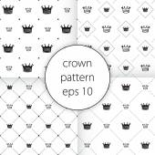 Crown vector icons set seamless  pattern art — Stock Vector