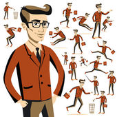 Flat people icons situations web infographic vector set Men lifestyle — Stock Vector