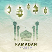 Traditional lantern Ramadan Kareem art beautiful — Stock Vector