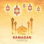 Traditional lantern Ramadan Kareem art beautiful — Stock Vector