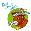 Funny cow carry wooden pail with milk. Lawn, flowers and sky. Vector illustration — Stock Vector #76947401