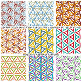 Set Of Nine Textured Natural Seamless Patterns Backgrounds — Stock Vector