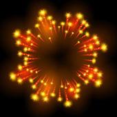 Праздничная узорной фейерверк, разрыва в различных формах, переливающийся пиктограммы на фоне Аннотация черном фоне вектор изолированных иллюстрация — Cтоковый вектор