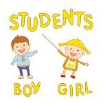 School kids - cute boy and girl — Stock Vector #80918728