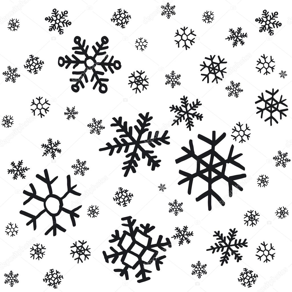 Los copos de nieve dibujados a mano adornos navidad - Dibujos decorativos de navidad ...