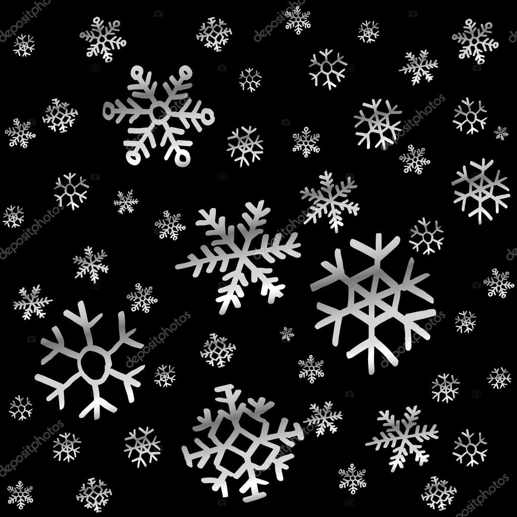 Chute ciel de neige ou de la nuit jacquard sans soudure toiles vector noir et blanc dessin es - Vrai flocon de neige ...